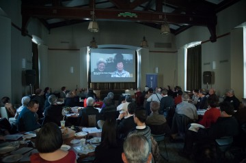 Audience watches A Degree of Justice oral history film at the Addressing Injustice symposium in March 2012. Photo by Don Erhardt