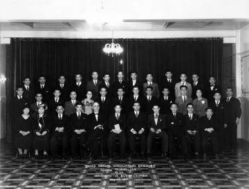 Third annual graduation banquet – UBC Japanese Students' Club  (May 1, 1935) Photo: Japanese Canadian Photograph Collection, Rare Books and Special Collections, UBC Library, JCPC 33.0003