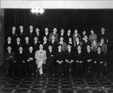 First annual graduation banquet – UBC Japanese Students' Club  (May 2, 1933) Photo: Japanese Canadian Photograph Collection, Rare Books and Special Collections, UBC Library, JCPC 33.0006