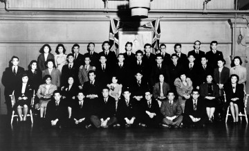 Seventh annual graduation banquet – UBC Japanese Students' Club  (April 30, 1938) Photo: Japanese Canadian Photograph Collection, Rare Books and Special Collections, UBC Library, JCPC 33.0007